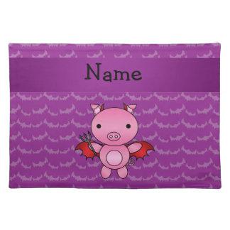 Personalized name devil pig purple bats placemats