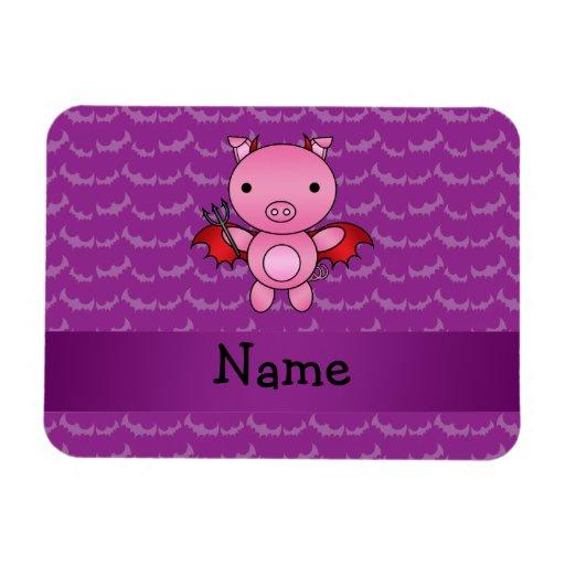 Personalized name devil pig purple bats rectangular magnets
