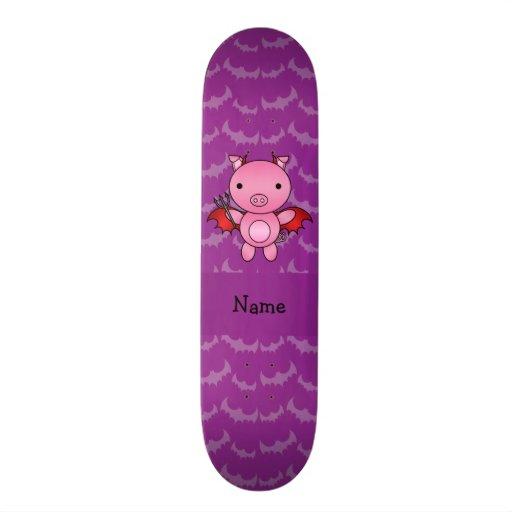 Personalized name devil pig purple bats skate decks