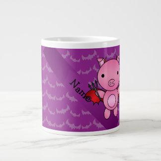 Personalized name devil pig purple bats jumbo mugs