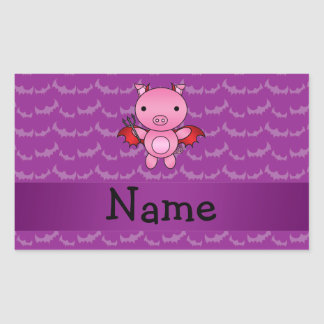 Personalized name devil pig purple bats rectangle sticker