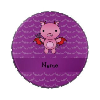 Personalized name devil pig purple bats jelly belly tin