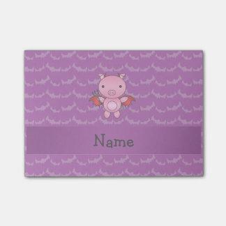 Personalized name devil pig purple bats post-it® notes
