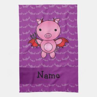 Personalized name devil pig purple bats towel
