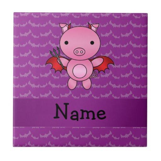 Personalized name devil pig purple bats tile