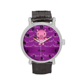 Personalized name devil pig purple bats wristwatch