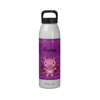 Personalized name devil pig purple bats drinking bottles