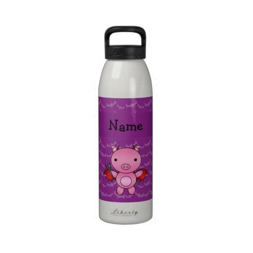 Personalized name devil pig purple bats drinking bottles