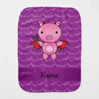 Personalized name devil pig purple bats burp cloths