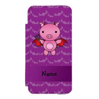Personalized name devil pig purple bats incipio watson™ iPhone 5 wallet case
