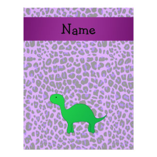 Personalized name dino purple leopard personalized flyer
