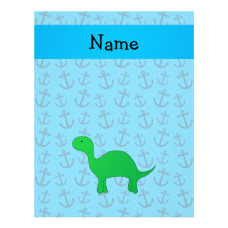 Personalized name dinosaur blue anchors pattern custom flyer