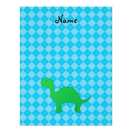 Personalized name dinosaur blue argyle custom flyer