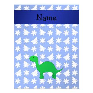 Personalized name dinosaur blue snowflakes trees 21.5 cm x 28 cm flyer
