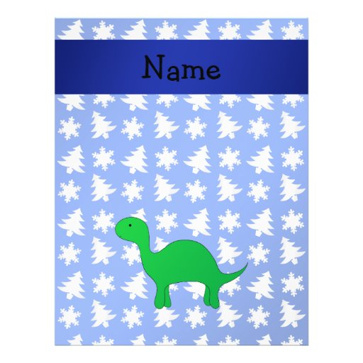 Personalized name dinosaur blue snowflakes trees flyer