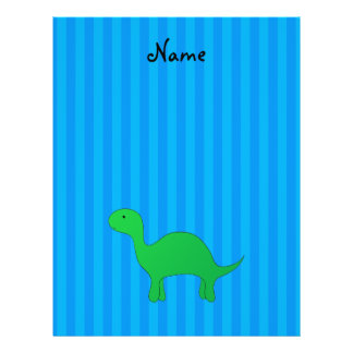 Personalized name dinosaur blue stripes full color flyer
