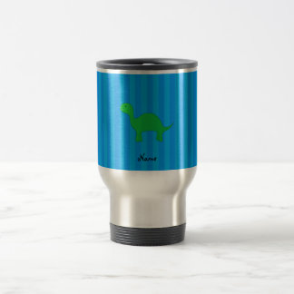 Personalized name dinosaur blue stripes stainless steel travel mug