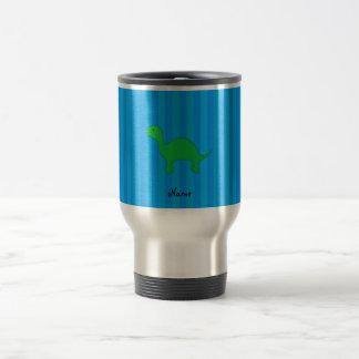 Personalized name dinosaur blue stripes stainless steel travel mug