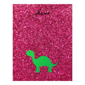 Personalized name dinosaur pink glitter 21.5 cm x 28 cm flyer