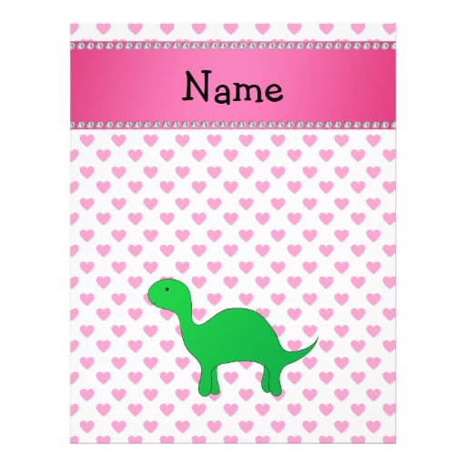 Personalized name dinosaur pink hearts polka dots flyer design