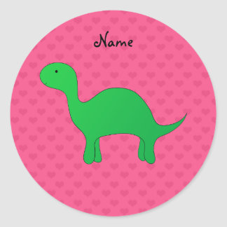 Personalized name dinosaur pink hearts round sticker