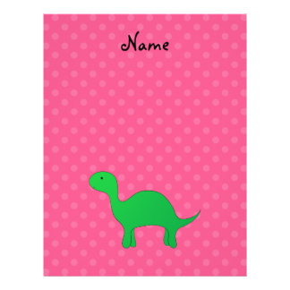 Personalized name dinosaur pink polka dots full color flyer