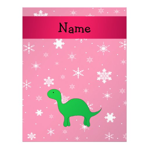 Personalized name dinosaur pink snowflakes flyers