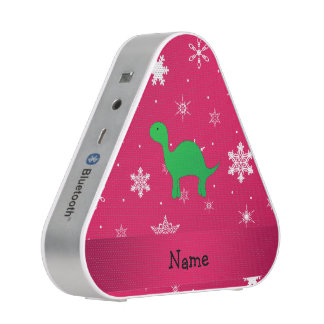 Personalized name dinosaur pink snowflakes bluetooth speaker
