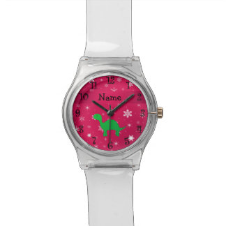 Personalized name dinosaur pink snowflakes wrist watch