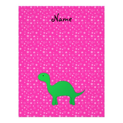 Personalized name dinosaur pink stars full color flyer
