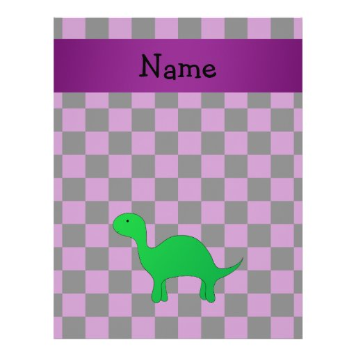 Personalized name dinosaur purple checkers flyer