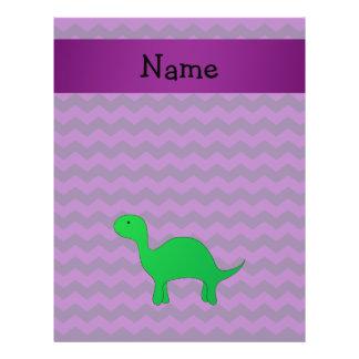 Personalized name dinosaur purple chevrons 21.5 cm x 28 cm flyer