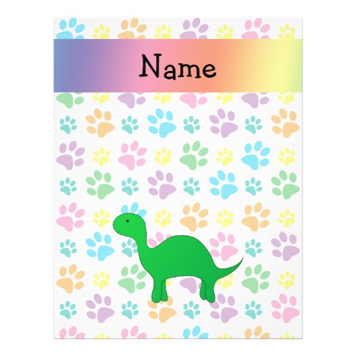Personalized name dinosaur rainbow paws flyer design