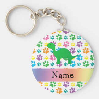 Personalized name dinosaur rainbow paws key ring