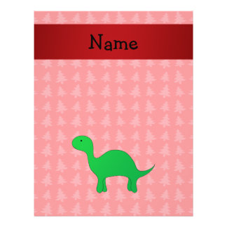 Personalized name dinosaur red christmas trees full color flyer