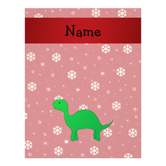 Personalized name dinosaur red snowflakes flyer
