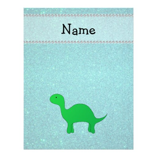Personalized name dinosaur turquoise glitter personalized flyer