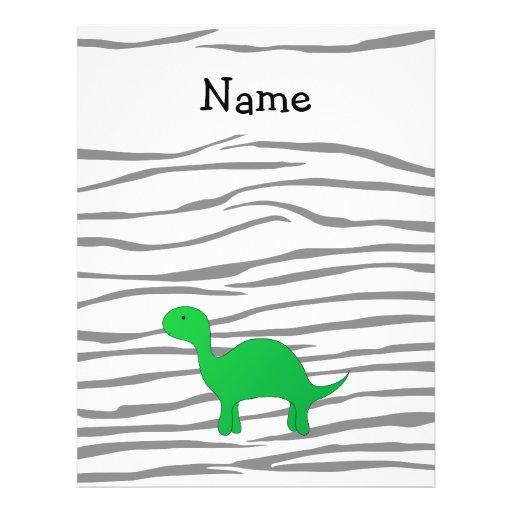Personalized name dinosaur zebra stripes flyer design