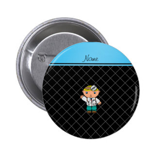 Personalized name doctor black criss cross 6 cm round badge