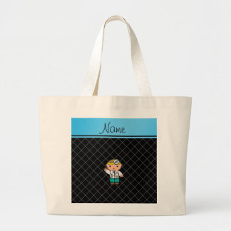 Personalized name doctor black criss cross canvas bag