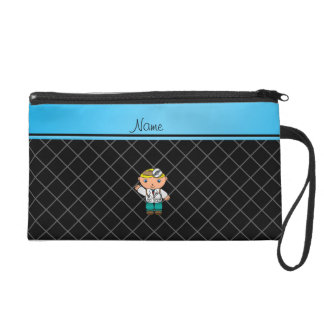 Personalized name doctor black criss cross wristlet clutches