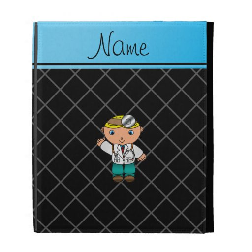 Personalized name doctor black criss cross iPad folio case