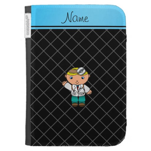 Personalized name doctor black criss cross cases for kindle