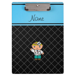 Personalized name doctor black criss cross clipboards