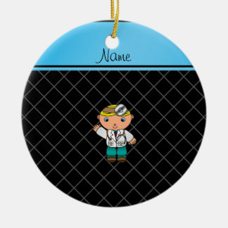 Personalized name doctor black criss cross christmas ornaments