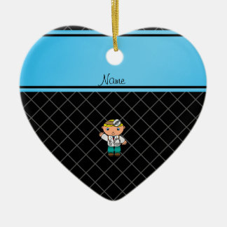 Personalized name doctor black criss cross christmas tree ornaments