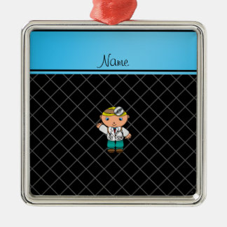 Personalized name doctor black criss cross christmas ornament