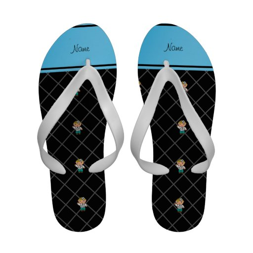 Personalized name doctor black criss cross flip flops