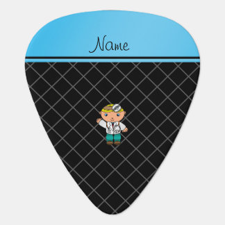 Personalized name doctor black criss cross pick