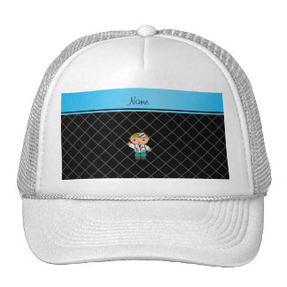 Personalized name doctor black criss cross trucker hats